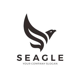 Logo de águila abstracto con la letra s