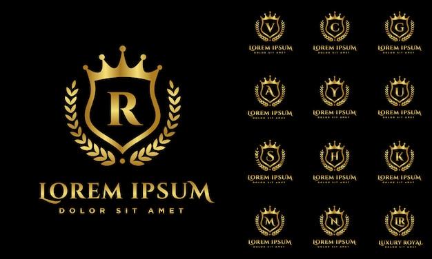 Logo de alfabetos de lujo engastado con escudo logotipo color oro