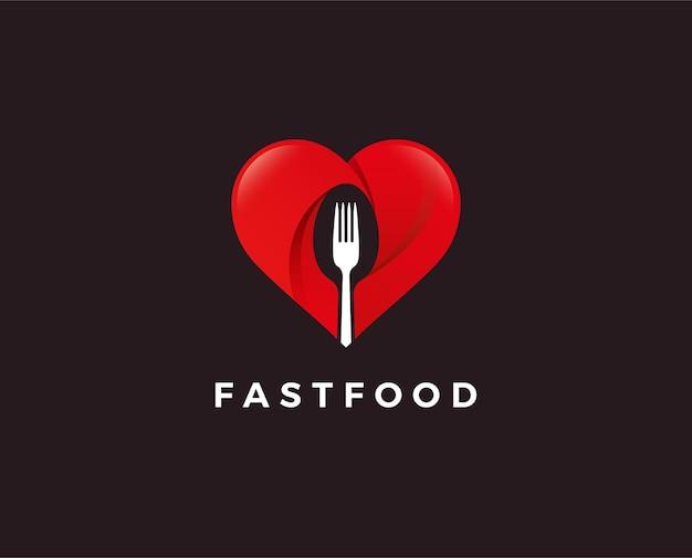Logo de amante de la comida con tenedor en corazón