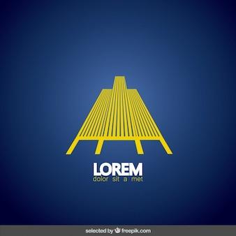 Logo amarillo abstracto de inmobiliaria