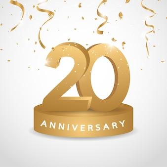 Logo de aniversario de oro de 20 años con confeti dorado