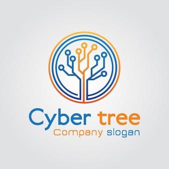 Logo árbol abstracto tecnología