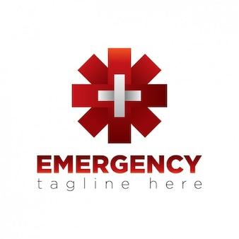 Logo de asterisco rojo con una cruz