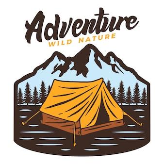 Logo de aventura en camping