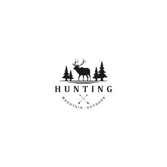 Logo de aventura de caza de ciervos