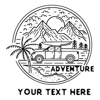 Logo de aventurero con coche