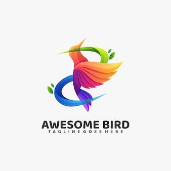 Logo awesome bird gradient estilo colorido.