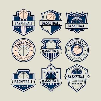 Logo de baloncesto establecido para evento de juego de campeonato o equipo universitario