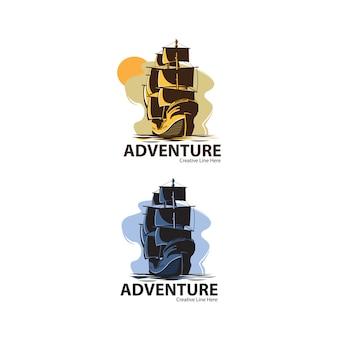 Logo de barco de aventura con barco vintage