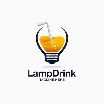 Logo de bebida de lámpara