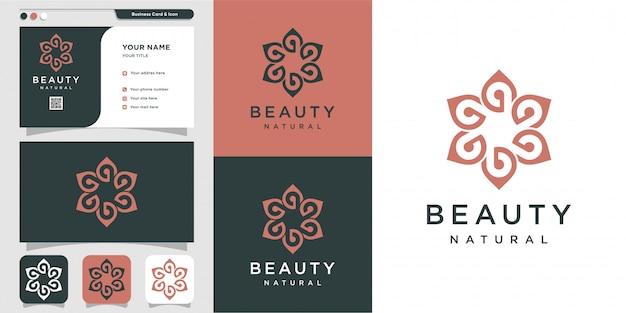 Logo belleza minimalista y tarjeta de visita con plantilla de diseño de arte lineal