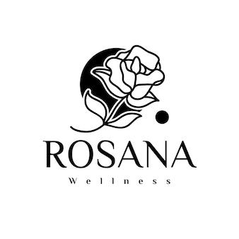 Logo de belleza rosa negra