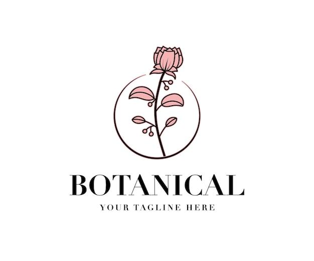 Logo botánico floral dibujado a mano