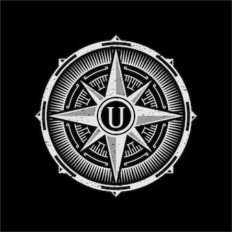 Logo de brújula vintage
