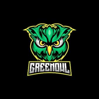 Logo de búho verde y deportes