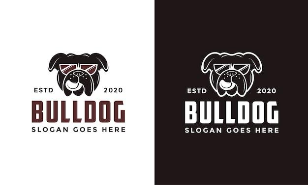 Logo de bulldog de gafas retro vintage