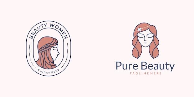 Logo de cabello de mujer de belleza