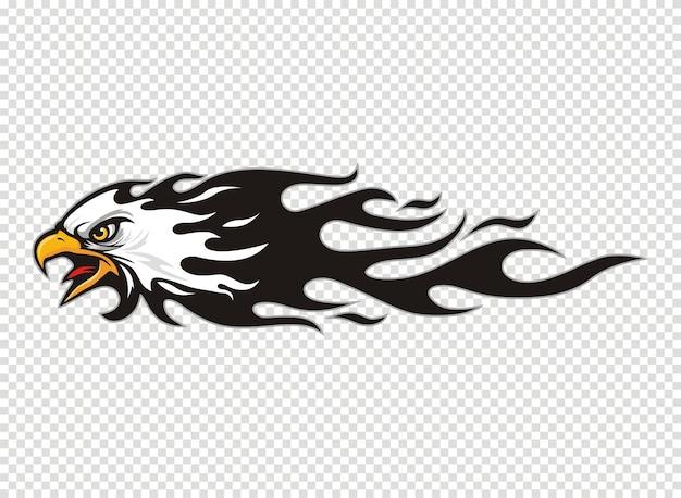 Logo de cabeza de águila con llama