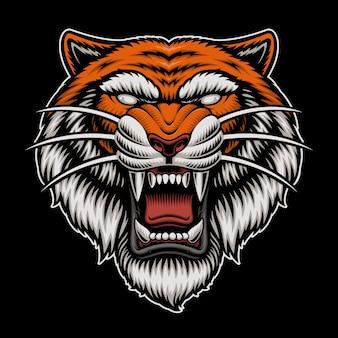 Logo de cabeza de tigre aislado en la oscuridad