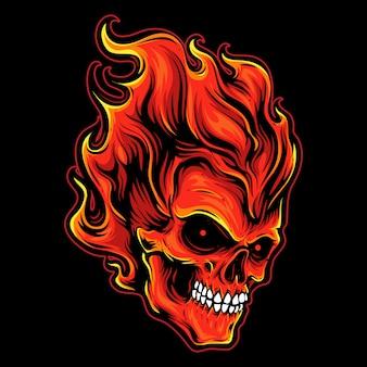 Logo de calavera cabeza de fuego