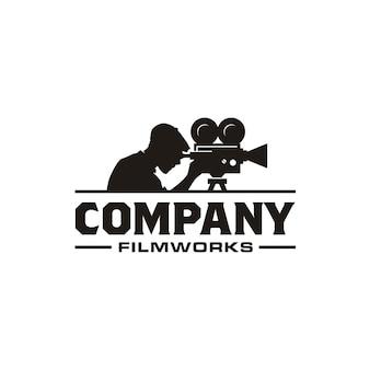 Logo de cámara de video vintage para producción de cine y cine.