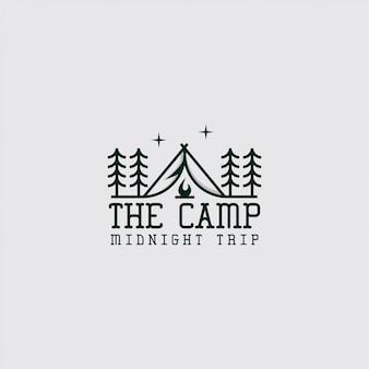 Logo del campamento con arte lineal