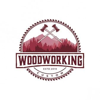 Logo de carpintería vintage