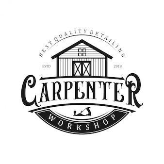 Logo para carpinteros con icono de taller.