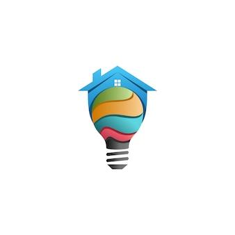 Logo de casa inteligente colorido