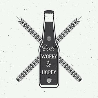 Logo de cerveza vintage con cita divertida de letras a mano