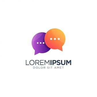 Logo chat chat morado y naranja
