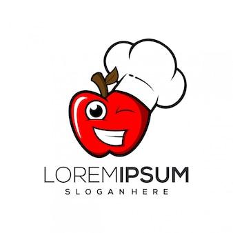 Logo de chef de manzana