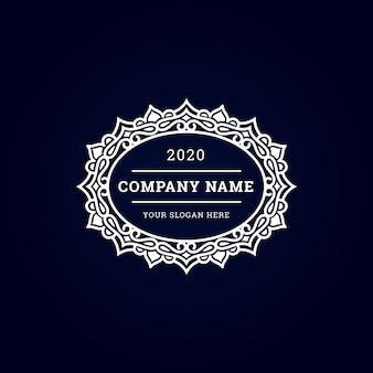 Logo circular blanco de lujo vintage