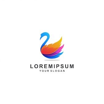 Logo de cisne colorido