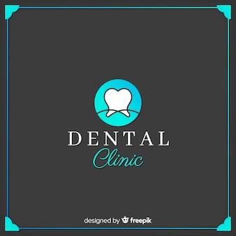 Logo de clínica dental en diseño plano