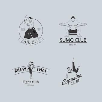 Logo del club de lucha o conjunto de emblemas mma