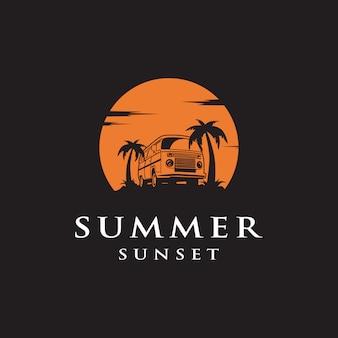 Logo de coche sunset summer