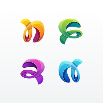 Logo colorido abstracto establece plantilla de vector
