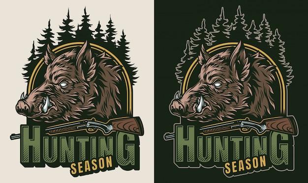 Logo colorido de caza vintage