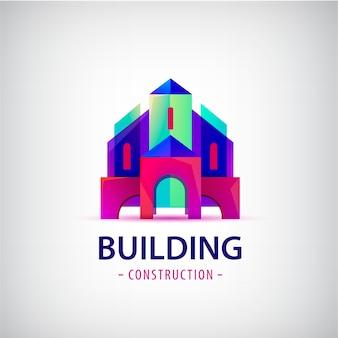 Logo colorido edificio abstracto aislado en gris