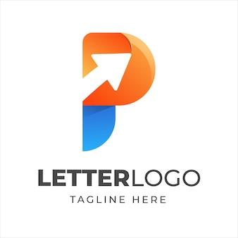 Logo colorido letra p con flecha