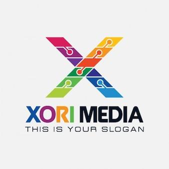 Logo colorido de letra x