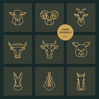 Logo de comida americana, gran conjunto de cabezas de animales de granja