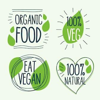 Logo de comida orgánica y vegana.