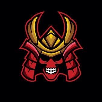 Logo de cráneo samurai