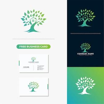 Logo creativo y diseño de tarjetas de presentación tree leaf