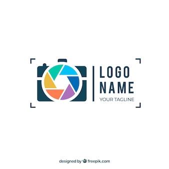 Logo de diafragma de fotografía en estilo plano
