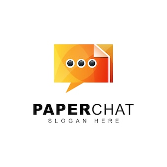 Logo degradado de chat de papel