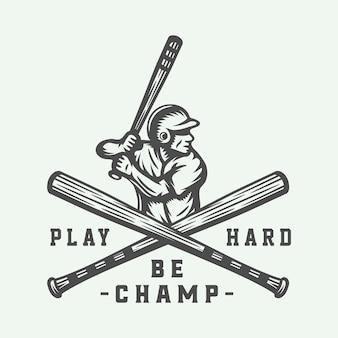Logo de deporte de béisbol vintage