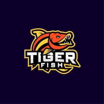 Logo de deporte de pez tigre